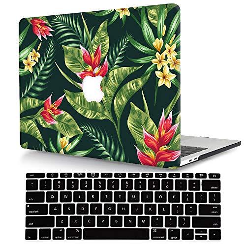 Bandless ACJYX Compatible con 2017-2010 MacBook Air 13 Pulgada Funda Modelo A1466 / A1369, Plástico Rígida Carcasa Cubierta Protectora con Cubierta de Teclado para MacBook 13.3' - Flor y Hoja