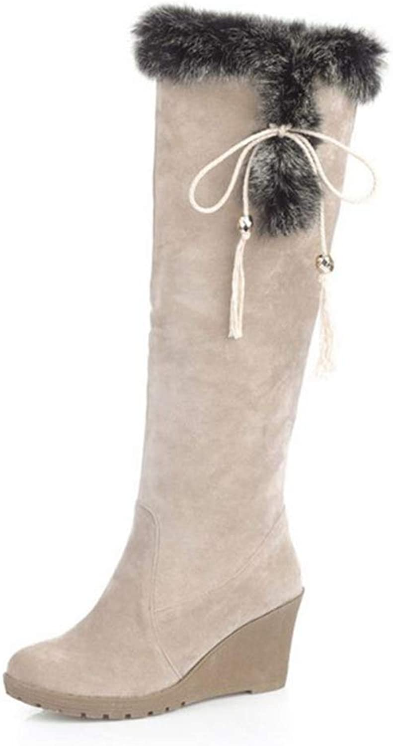 Hoxekle Knee High Boots Wedges shoes Winter Warm Plush Fur Black Beige Sneakers Casual Outdoor