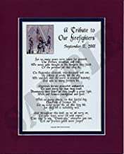 Genie's Poems A Tribute to Our Firefighters #179, 8x10 Poem Double-matted in Navy/White. Gift for a Fireman.