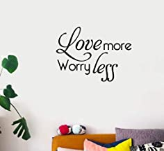 yaunor Vinly Art Decal Words Quotes Love More Worry Less for Living Room Bedroom