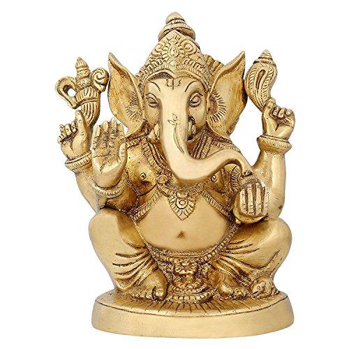 Dieu hindou statues ganesha sculpture religieuse en laiton Inde décoration 6,5 pouces
