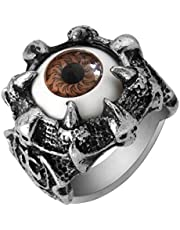Mens Gothic Vintage Dragon Claw Brown Evil devil Eyes Ring US Size 9-r052