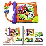 OFKPO Livre en Tissu pour Bébé, Livre d'Eveil avec Voix et Jouet de Dentition, Livre de Tissu Educatif de Bébé