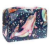 Bolsa de Maquillaje Diseño cromático de Delfines Bolsa Cosmetica Portátil Viaje de Maquillaje Organizador Bolsa de Almacenamiento de Maquillaje 18.5x7.5x13cm