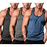 COOFANDY Men's Fitness Tank Tops Gym Workout Muscle Tee Y-Back Sleeveless Bodybuilding T Shirts 3 Pack
