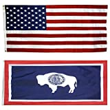 US Flag with Wyoming State Flag 3 x 5-100% American Made - Nylon