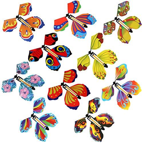 Dan&Dre 10 piezas de hada mariposa voladora viento mariposa juguete regalo de cumpleaños sorpresa broma niños juguetes al azar