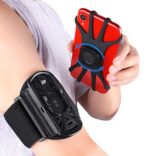 PEYOU Brazalete Movil Running, Desmontable Brazalete Deportivo para Correr con Rotación de 360°, Compatible 4 ''-6.5'' como iPhone 11/XR/X/XS/8/7/8Plus/7Plus/6s/6, con Soporte para Llave, hasta 6,5
