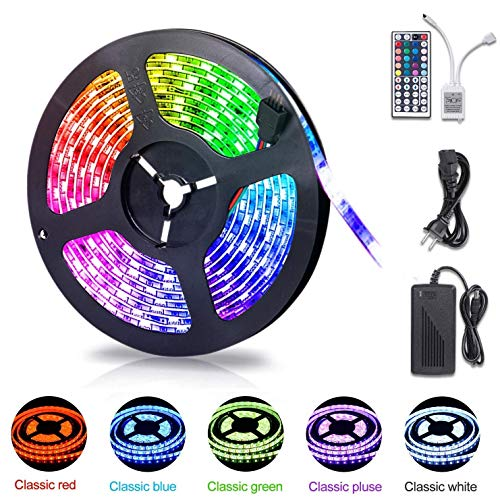 LED Strip Lights,Waterproof 16.4ft RGB LED Light Strip 5050 LED Tape Lights, Color Changing LED Strip Lights with Remote Control for TV, Bedroom Flexible Strip Lights for Party Bar Home Decoration