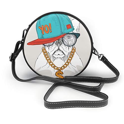 Hundeposter mit Hip Hop Hut, Damen, PU-Leder, Reißverschluss, runde Umhängetasche, Handtasche für Arbeit, Reisen, Dating, personalisierbar