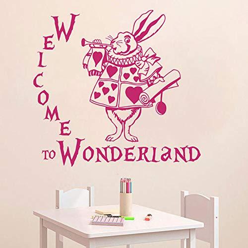 zqyjhkou Wandtattoo Zitat Willkommen im Wunderland Kaninchen Sprüche Baby Zimmer Kinder Vinyl Aufkleber Wohnkultur Wandbild81x75cm