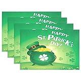 yyndw Manteles Individuales De Cocina Happy St. Patrick's Day Irish Dining Green Hat Clover Gold Coin Cerveza Manteles Manteles Individuales Mantel Individual De Cocina 45Cm X 30Cm Color