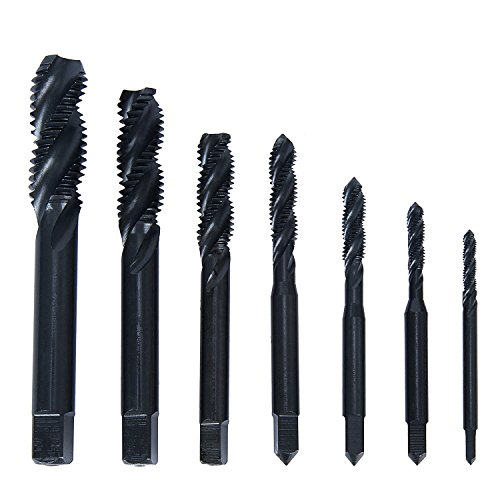 Hakkin 7 Pcs HSS Nitriding Coated Metric Spiral Flute Taps Set for Metal Wood Plastic Tapping with Good Cutting