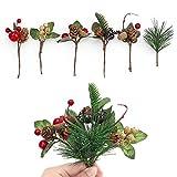 Künstliche Kiefer Zweige Weihnachten, 14 Pcs Weihnachten Beeren Tannenzweigen, künstliche Tannenzapfen, Beeren-Stiele, Deko, Blumensträuße, für Hochzeit Garten Weihnachtsbaum Handwerk Dekorationen