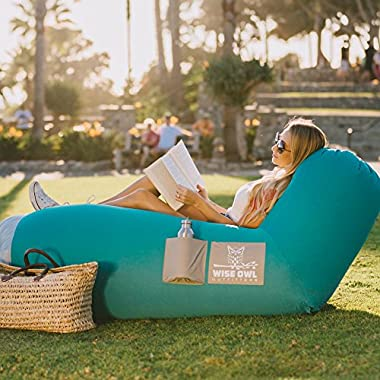 Wise Owl Outfitters Inflatable Lounger Air Hammock Sofa by Large Waterproof Pool or River Float - Indoor or Outdoor Adjustable Hangout Chair Seat for Camping - Teal & Ash