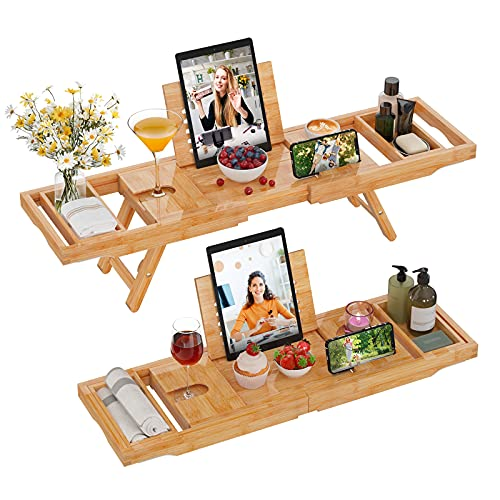 Bathtub Tray Caddy Bamboo 2 in 1 Bath Tub Tray & Bed Tray Expandable Luxury with Legs, Wine Glass Holder, Tablet/Reading Stand, Phone Slot by FURNINXS