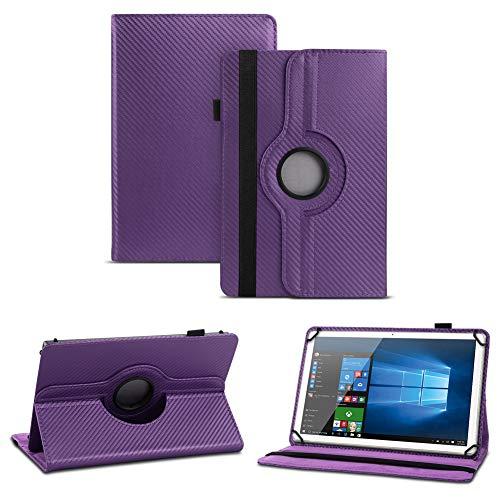 NAUC Blaupunkt Polaris A08.G301 Tablet Schutzhülle Tasche Cover Hülle Carbon-Erscheinungsbild 360°, Farben:Lila