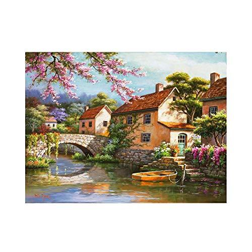 JinwoRyeahs Reproducciones de pintura al óleo, murales abstractos de color, pinturas colgantes, lienzo impermeable, puente de piedra enmarcado_20 x 30 cm