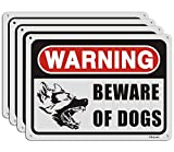 Beware of Dogs Sign, Warning Dogs Sign (4 Pack),7' x 10' Rust Free Aluminum, UV Printed,Easy Mounting Outdoor Use,Waterproof and Durable Ink