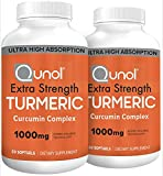 Turmeric Curcumin Softgels, Qunol with Ultra High Absorption 1000mg, Anti-Inflammatory, Dietary Supplement, Extra Strength, 60 Count Twin Pack