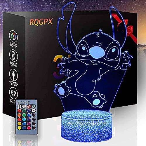 Regalo per 8 Anni Ragazzi Stitch 3D Luce Notturna 16 Colori Cambiano con Telecomando Vacanze e Compleanno Regali Idee per Bambini