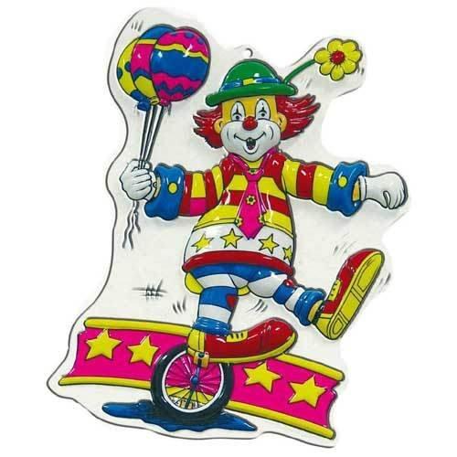 PARTY DISCOUNT Wand-Deko Clown mit Einrad, Höhe ca. 40 cm