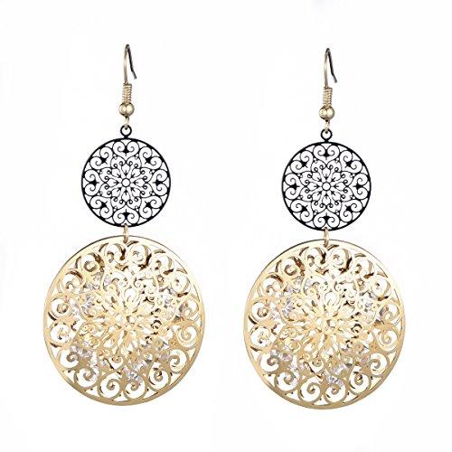 Orecchino a pendente per donna, orecchino a goccia cava con inserto in oro o argento di cristallo con strass (Nero e oro placcato)