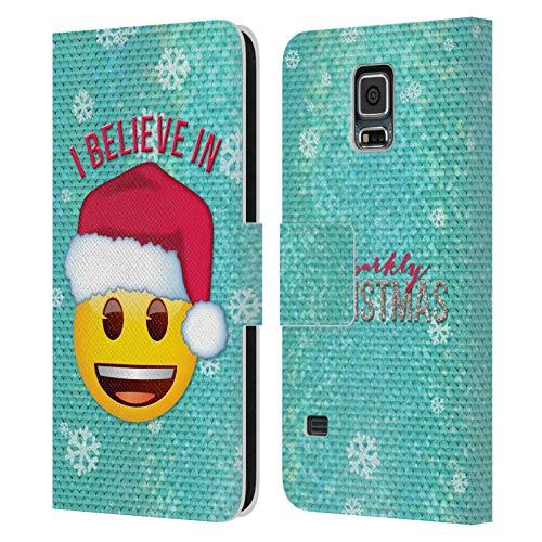 Head Case Designs Oficial Emoji Papá Noel Navidad Carcasa de Cuero Tipo Libro Compatible con Samsung Galaxy S5 / S5 Neo