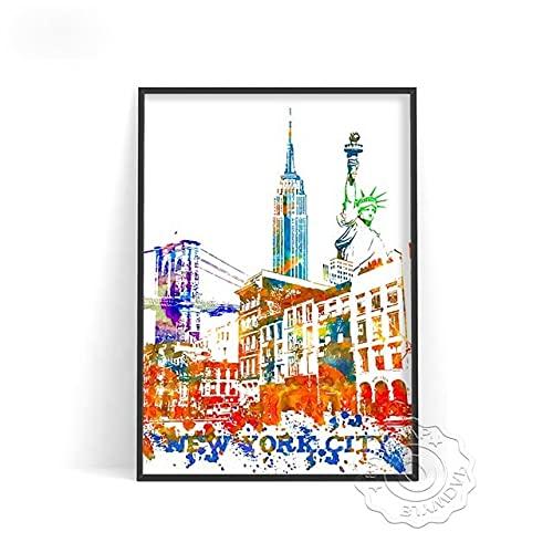linbindeshoop Color World City Poster York Paris Moscow Wall Art Dubai Roma Wall Stickers San Francisco Rio De Janeiro Travel Poster(LT-383) 50x70cm No frame