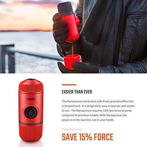 Wacaco Nanopresso Portable Espresso Maker, Upgrade Version of Minipresso, 18 Bar Pressure, Red Patrol Edition, Extra Small Travel Coffee Maker, Manually Operated. Perfect for Kitchen and Office