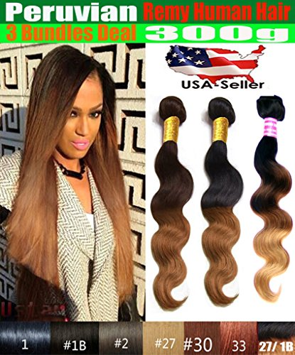 """uSTAR 3 Bundles of Peruvian Body Wave Hair Weave Extension - Tip-Dyed Three-Tone #1B/#4/#27 Color - 100% Human Hair - 18""""20""""22"""""""