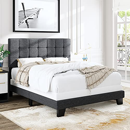 Allewie Queen Size Panel Bed Frame with Adjustable Headboard for High Profile, Fabric Upholstered, Square Stitched Padded Headboard, Box Spring or Bunkie Board Required, Grey