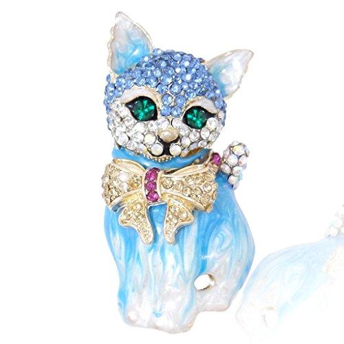 EVER FAITH - Cristal Austriaco Gato Lazo Broche Azul-Oro-Tono N03051-4