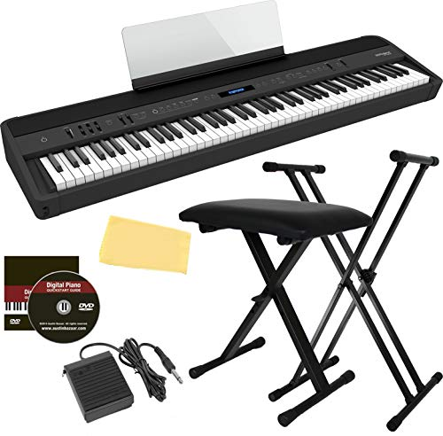Roland FP-90X 88-Key Digital Piano Bundle with Adjustable Stand, Bench, Deluxe Sustain Pedal, Instructional DVD, and Austin Bazaar Polishing Cloth - Black