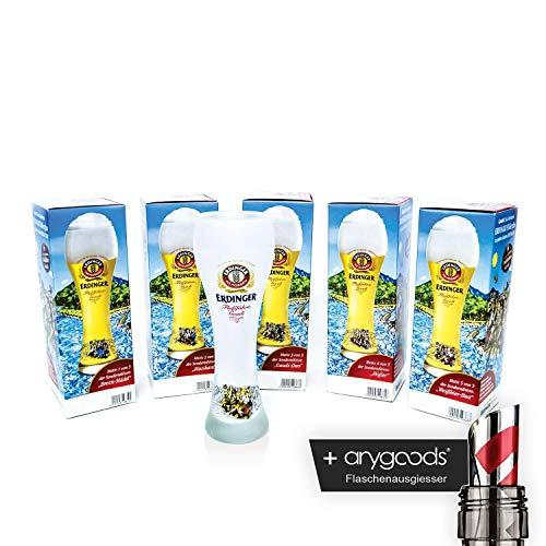 Anygoods Sammel Edition - Vasos de vidrio (5 unidades, incluye boquilla para derramar)