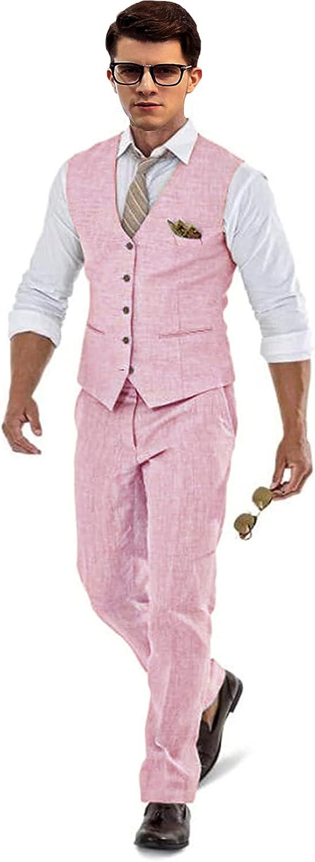Retro Linen Suit Vest for Men Casual Slim Fit 2 Pieces Waistcoat and Pants for Groomsmen