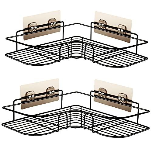 Migimi Estantería de ducha, baño sin agujeros, estante de ducha, estante de esquina para el baño, cocina, salón, decoración de pared (negro)