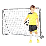 E-Jet Soccer Goals Football Goals, 6'x4' Metal Frame with All Weather Net, White