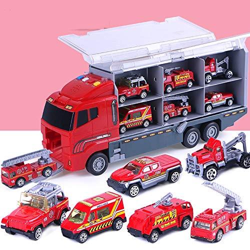 AKLDPD Adecuado para niños de más de 3 años Excavadora Juguete Coche Ingeniería Vehículo Camión de bomberos Juego de coche de policía Boy Alloy Car Modelo Toy Car Con contenedor de sonido Truck Toy