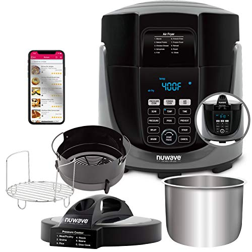 NUWAVE DUET Pressure Air Fryer, Combo Cook Technology, Removable Pressure and Air Fry Lids, 6QT Stainless Steel Pot, Stainless Steel Reversible Rack & 4 Quart Non-Stick Air Fryer Basket; Built-in Sure-Lock Safety Technology, Steam, Sear, Saute, Slow Cook, Roast, Grill, Bake, Dehydrate, Pressure Cook & Air Fry