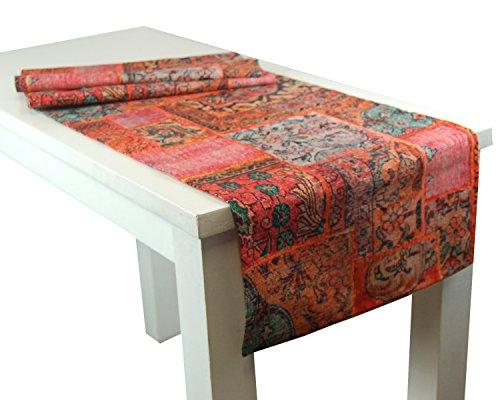 """beties """"PersischPatch"""" Tischläufer XL ca. 40x220 cm 100% Baumwolle marokkanischer Wohnstil in der Farbe abendrot"""