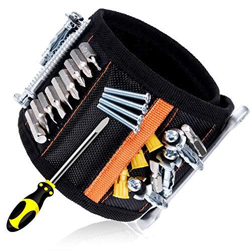 Rovtop Polsiera magnetica con 15 Magneti Robusti, Braccialetto Magnetico, salva le mani, fissa facilmente viti, chiodi, punte da trapano, ecc, Adatto per uomini e donne, attrezzi e regali fai da te