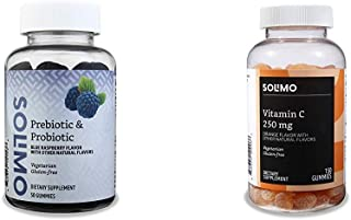 Amazon Brand - Solimo Prebiotic & Probiotic 2 Billion CFU, 50 Gummies (2 Gummies per Serving) & Solimo Vitamin C 250mg, 15...