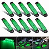 PSEQT 10 Pcs LED Rock Strip Lights Car Underglow Wheel Fender Well Lighting Kits Waterproof for Golf Cart Jeep Wangler Offroad Truck Ford RV UTV ATV Snowmobile (Green)