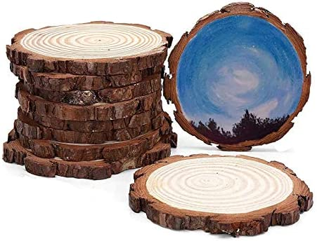 INNAPER Wood Slices 10Pcs 4 4 7 Inches Wood Pieces Unfinished Predrilled Wooden Circles for product image