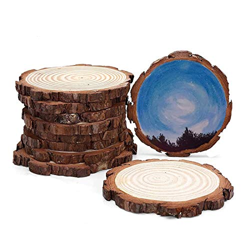 INNAPER Unfinished Natural Wood Slices Circles with Tree Bark Log Discs for DIY Craft 5pcs 5-6.3 Inches Woodburning Christmas Rustic Wedding Ornaments