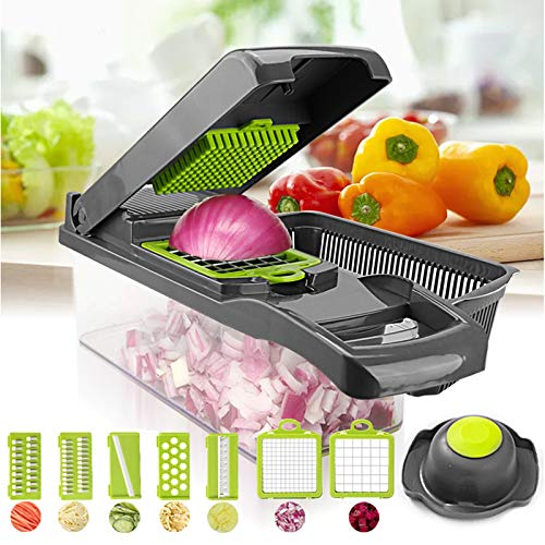 Vegetable Silcers ,12 in 1 Onion Choppers and Dicers ,Manual Kitchen Multifunctional with Egg Separator and Filter Basket