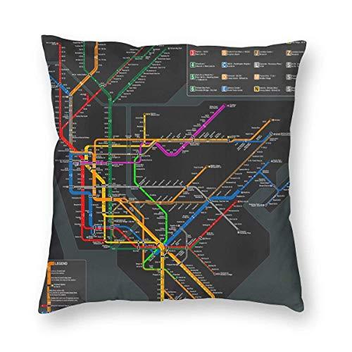 GOSMAO Fundas para Cojines Mapa del Metro de Nueva York Funda de cojín con impresión clásica Fundas de Almohada Decorativas para Regalos sofá decoración 45 * 45cm