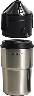 ソロカノ SOLOCANO コーヒーフィルター ドリッパー タンブラー 大容量 コーヒー コーヒーメーカー コーヒー豆 オールインワン コンパクト 水洗い可能 ブラシ付き お手入れ簡単427ml (シルバー)タンブラーセット