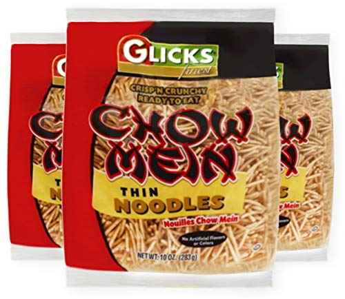 Glicks Thin Chow Mein Noodles, 10oz (3 Pack), Thin and Crisp, No Artificial Flavors or Colors, Certified Kosher